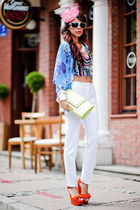 Motel Rocks top - KappAhl jacket - white Zara pants