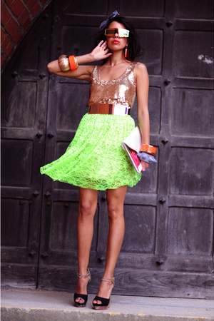 neon lace Katarzyna Grecka skirt - transparent Bershka bag - black Fleq sandals