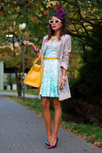 Sheinside coat - sequin blue asos coat