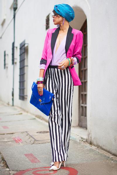 pink boyfriend house blazer - Sheinside pants