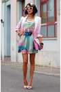 Sheinside-dress-romwe-blazer-white-bow-stradivarius-heels