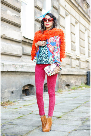 fur orange vintage scarf - red Leggi pants
