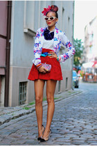 red floral mini Chicwish skirt - floral prints asos blazer