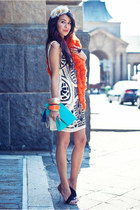 aztec sequins TFNC LONDON dress - asymmetrical Zara heels
