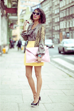 Monnari blouse - Fleq bag - Zara skirt - sequins bolero Monnari jumper