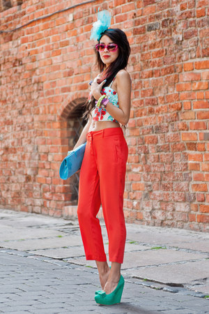 7-8 length Sheinside pants - floral bralet Topshop top