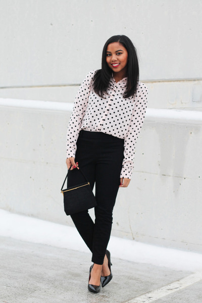 pink polka dot Forever 21 skirt - black high waisted Maison Jules pants