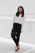 pink polka dot Forever 21 skirt - black high waisted Maison Jules pants