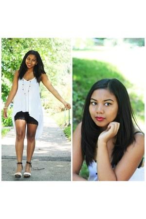 black lace shorts H&M shorts - white white dress foreign exchange dress