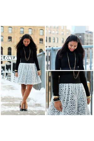 white lace tulle Anthropologie skirt - black turtleneck H&M top