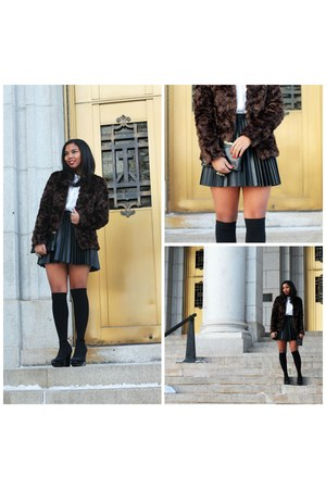 black leather H&M skirt - dark brown faux fur H&M coat