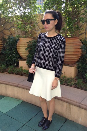black Zara top - white Zara skirt