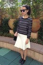Black-zara-top-white-zara-skirt