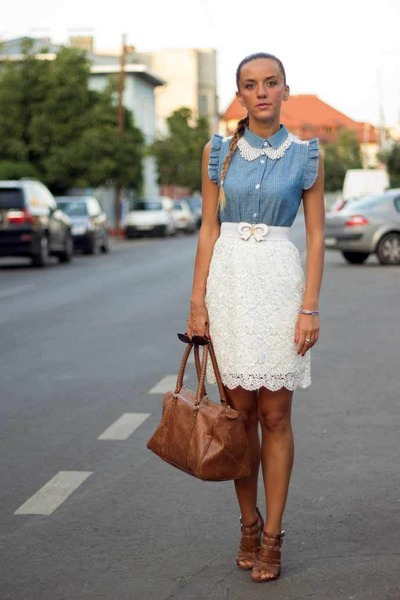 lace H&M skirt - Mango bag - pu leather Graceland sandals