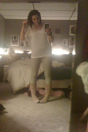 white Wet Seal shirt - gray TJ Maxx jeans - pink boots - silver Walmart necklace