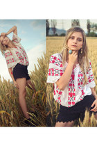 romanian blouse handmade blouse - lace Local store shorts - H&M earrings