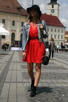 cut out patent Mossa boots - Local store dress - Pimkie hat - denim H&M jacket