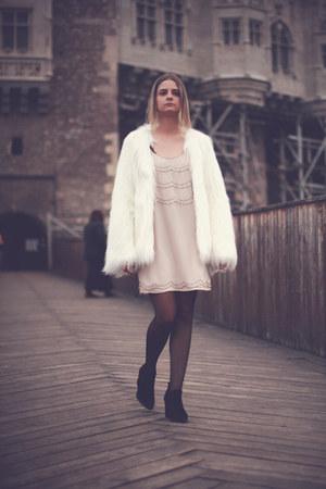 Zara boots - H&M dress - faux fur Bershka jacket