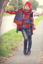 beanie H&M hat - Mango sweater - escada blazer - aztec H&M scarf - KappAhl pants