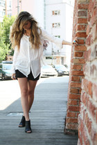 Zara blouse - denim boyfriend Mango shorts - cut out BBup sandals