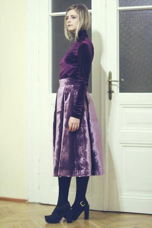turtleneck Sofia Afrenie top - velvet Sofia Afrenie skirt - platform H&M sandals