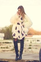 over the knee Zara boots - Eponge dress - faux fur Bershka jacket