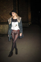 parka Mango jacket - fullah sugah boots - second hand hat - Bershka shorts