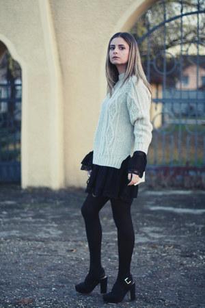 Zara sweater - GINA TRICOT dress - hm sandals