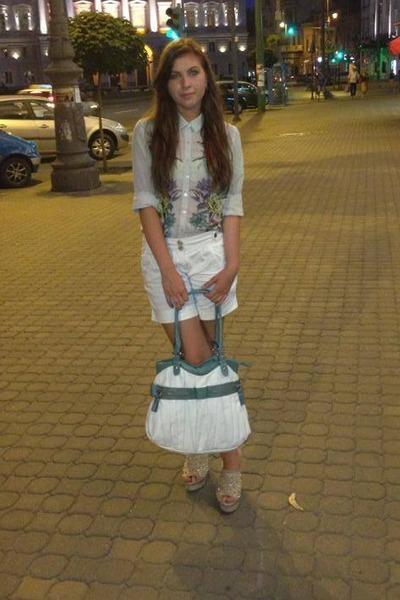 lime green H&M shirt - white c&a shorts
