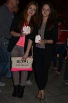 hot pink Bershka bag - black New Yorker blazer - hot pink H&M top