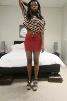 UK2LA shirt - UK2LA skirt - Liliana wedges - Forever 21 necklace