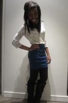 white flower The Limited blouse - blue Body Central skirt
