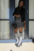 black coach bag - vintage shoes - periwinkle Origins socks