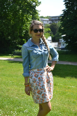 flower thrifted vintage skirt - light blue blue jean H&M blouse