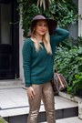 Brown-h-m-hat-bronze-glitter-h-m-leggings-monogram-louis-vuitton-bag