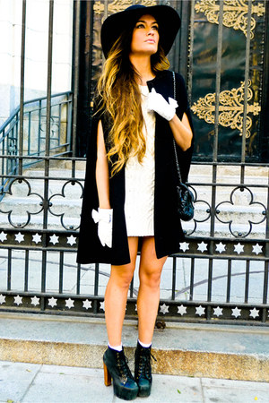 gloves - Jeffrey Campbell shoes - H&M Kids dress - Chanel bag - Zara cape