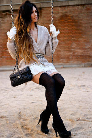 H&M cardigan - Pura Lopez shoes - Topshop dress - Chanel bag