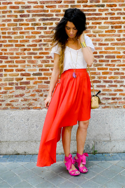 NADKA necklace - hot pink Miss Sixty sandals - carrot orange H&M skirt