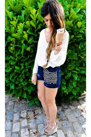 customized Levis shorts - Zara blouse - Christian Louboutin wedges