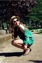 dark green Zara dress - Oysho hat - Zara flats