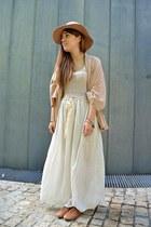 tan vintage dress - Primark hat - Zara blazer