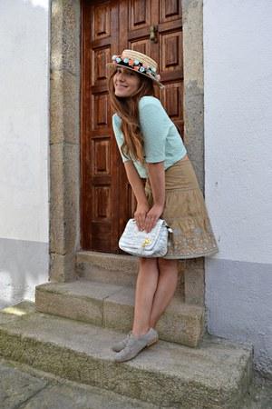 nude Cortefiel skirt - aquamarine H&M top - periwinkle Zara flats