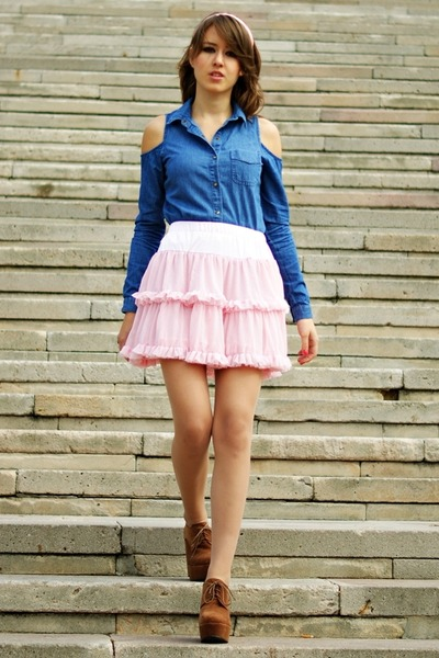 bubble gum envancl skirt - navy Primark shirt