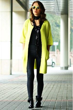lime green chicnova sweater - black River Island leggings