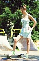 white fashionata dress - green Smith sneakers - yellow Eokulary glasses