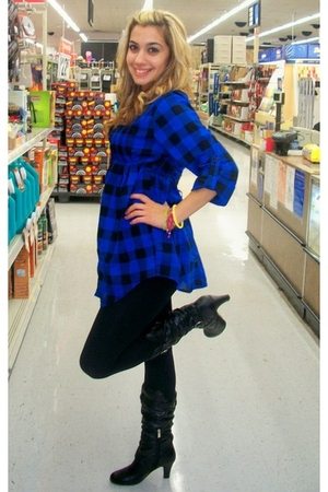 black Charlotte Rouse boots - blue Forever 21 blouse - H&M leggings - Wet Seal n