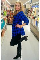 black Charlotte Rouse boots - blue Forever 21 blouse - H&M leggings - Wet Seal n