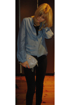 whyred shirt - Vintage Balenciaga purse - Cheap Monday jeans - Din Sko shoes