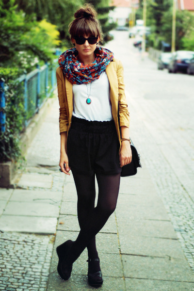 mustard Chicwish blazer - turquoise blue Vero Moda scarf - black romwe shorts