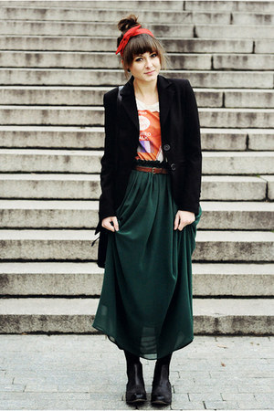dark green romwe skirt - black La Redoute boots